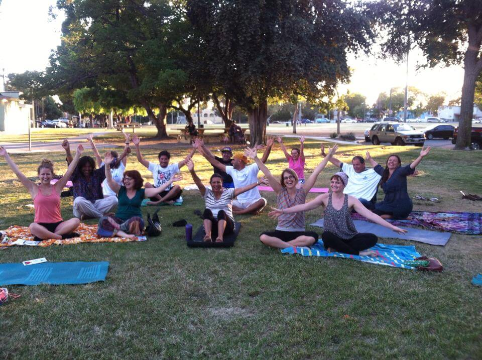 our team laughter yoga at park